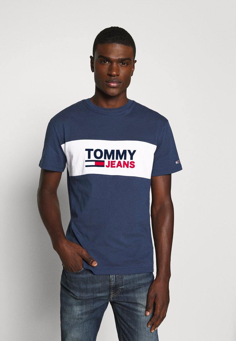 Tommy Jeans - PIECED BAND LOGO TEE - Print T-shirt - twilight navy