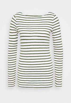 LONG SLEEVE BOAT NECK STRIPED - Long sleeved top - multi/lush pine