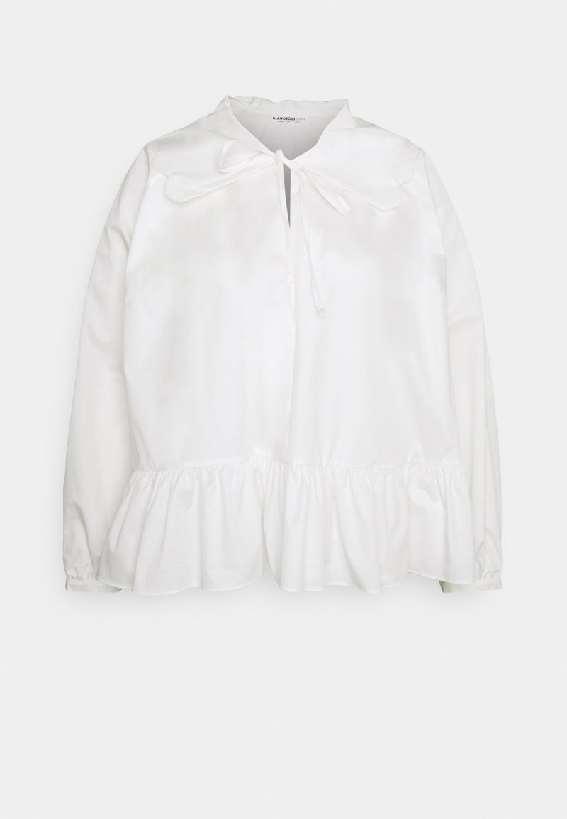 Glamorous Curve - BABYDOLL BLOUSE WITH SCALLOP COLLAR FRONT NECK TIE DETAIL - Blouse - off white