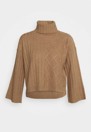 PATTERNED CROP - Jumper - dark beige
