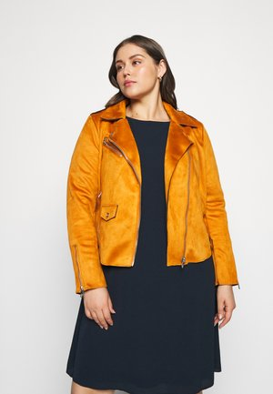 CARSHERRY BONDED BIKER - Faux leather jacket - pumpkin spice