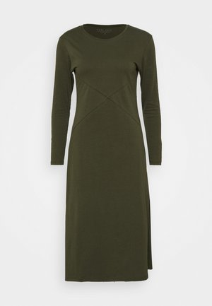 LONG SLEEVE SIDE SPLIT MIDI DRESS - Jersey dress - olive