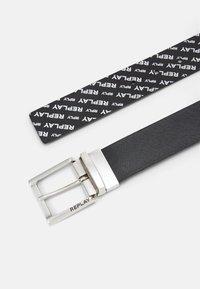 Replay - CRUST SAFFIANO EMBOSSED BELT - Belt - black - 2