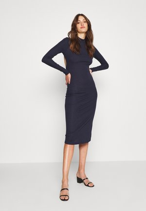 OPEN BACK BODYCON DRESS - Gebreide jurk - navy