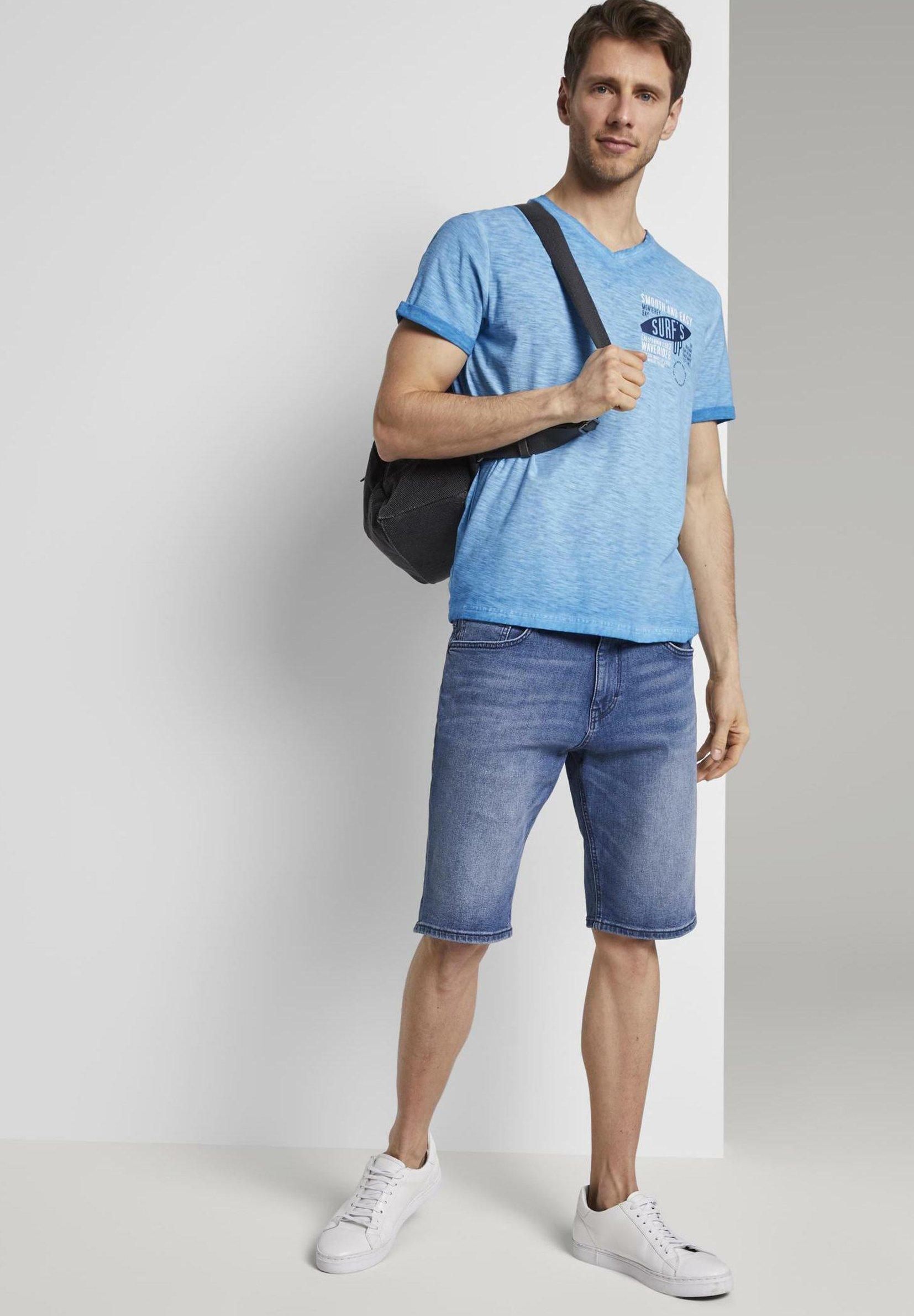 Tom Tailor Meliertes - T-shirt Z Nadrukiem Brilliant Middle Blue