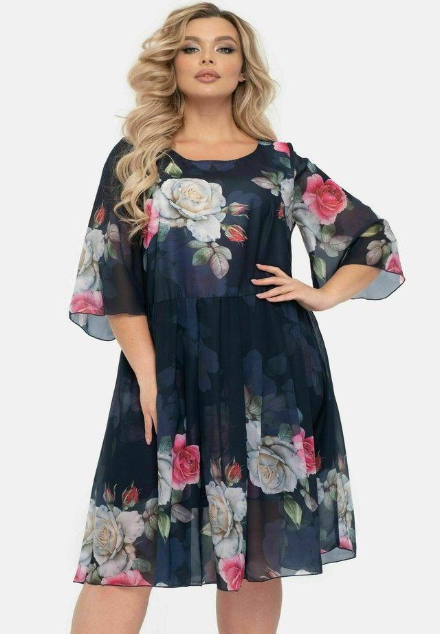 MIT BLUMENPRINT - Korte jurk - blau