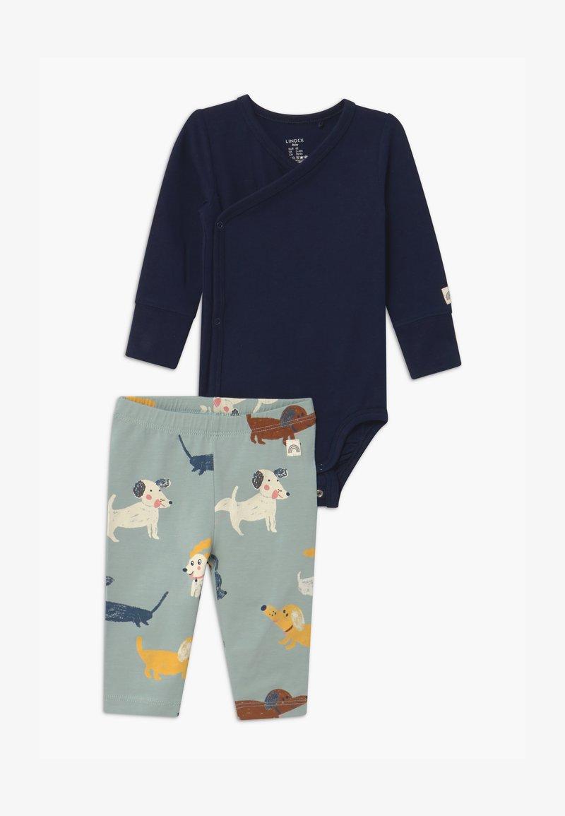 Lindex - DOGS UNISEX SET - Leggings - Trousers - navy