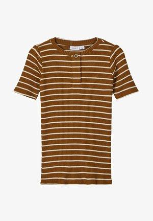 SLIM FIT STREIFENRIPP - Basic T-shirt - monks robe