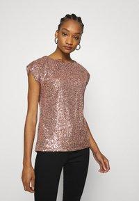 Dorothy Perkins - SEQUIN TEE - Print T-shirt - rose gold - 0