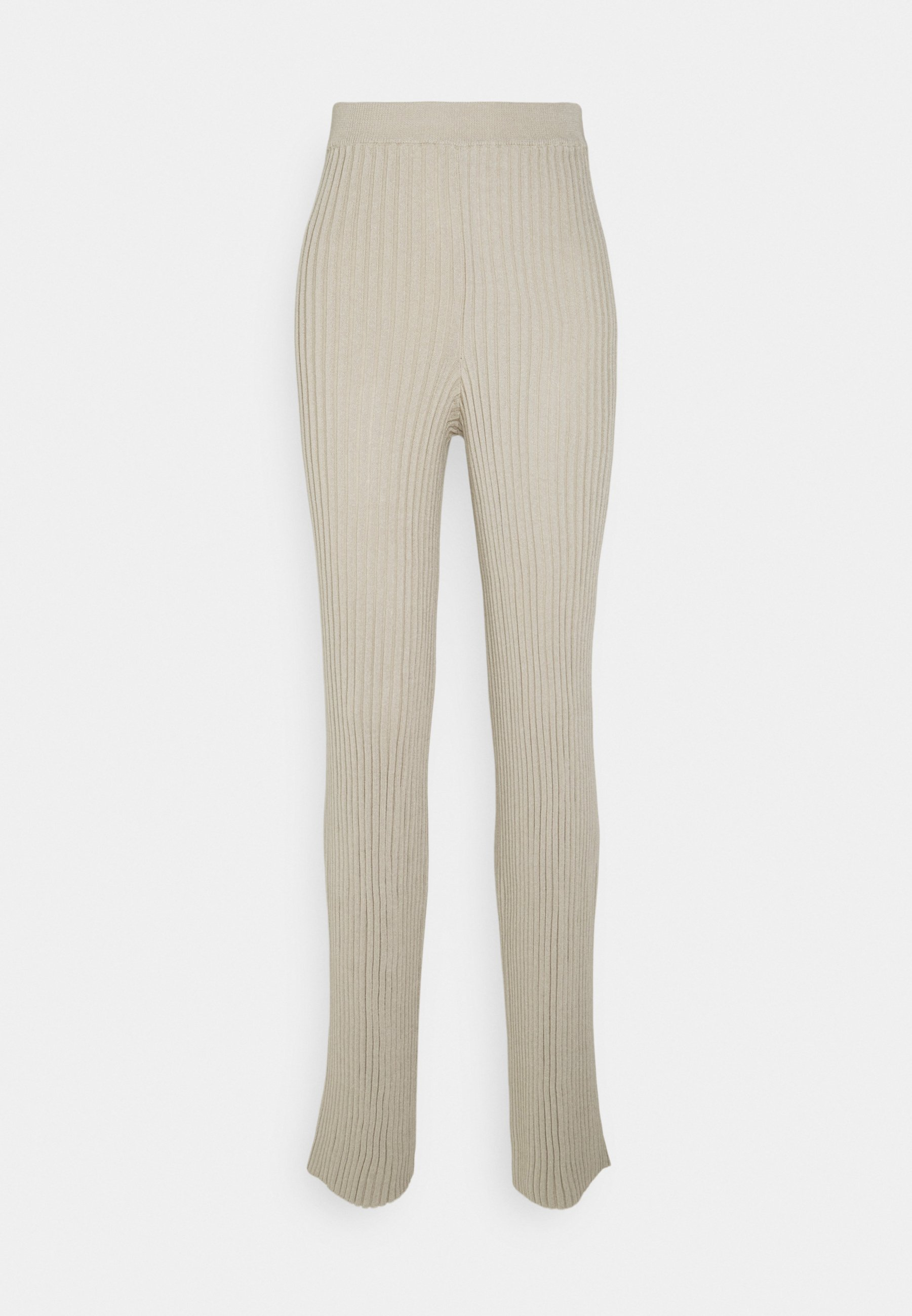 Women RIBBED KNITTED PANTS - Trousers