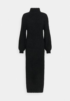FLUFFY SLOUCHY SIDE SPLIT JUMPER DRESS - Maxi dress - black