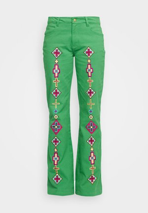 EVITA PANTS - Flared Jeans - green