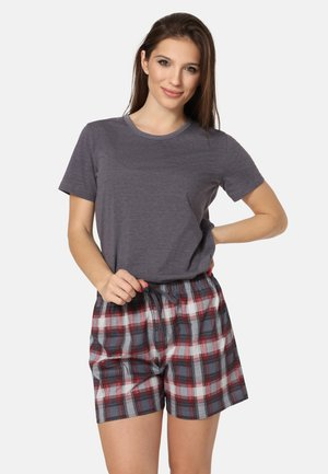 SET - Pyjama set - dark melange/bordeaux