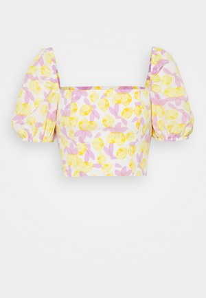 MAYA WITH PUFF SHORT SLEEVES AND LOW NECKLINE - Printtipaita - yellow/lilac
