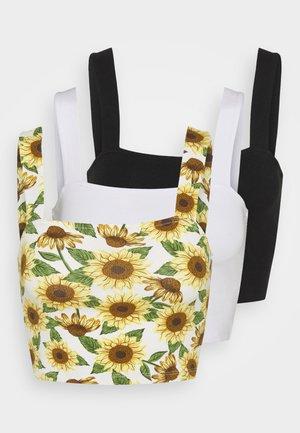 MADDY SINGLET 3 PACK - Linne - black dark/sunflower/white
