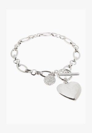 PAVÉ DISC HEART CHARM  - Bracelet - silver