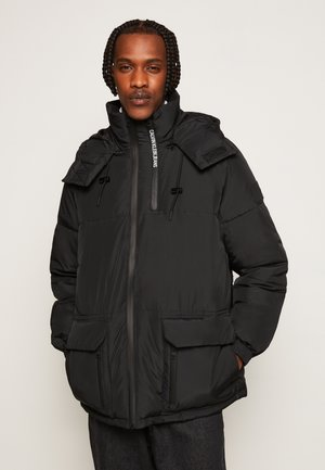 BLOCKING HOODED PUFFER - Winter jacket - black