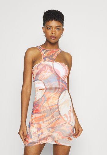 HOLE CUT OUT DOUBLE LAYER DRESS MIX ABSTRACT ART - Kjole - multi