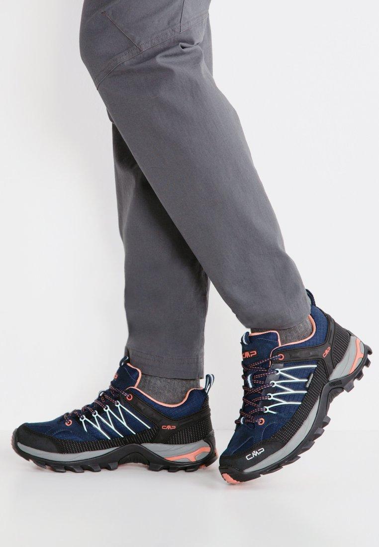 CMP - RIGEL LOW TREKKING SHOE WP - Hiking shoes - blue/giada/peach