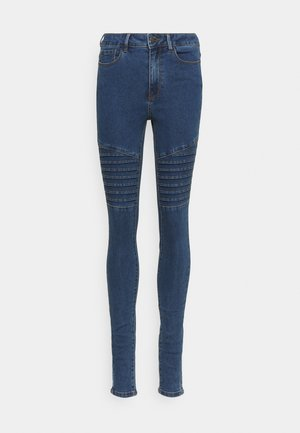 VMHOT SEVEN BIKER PANTS - Jeans Skinny Fit - medium blue denim