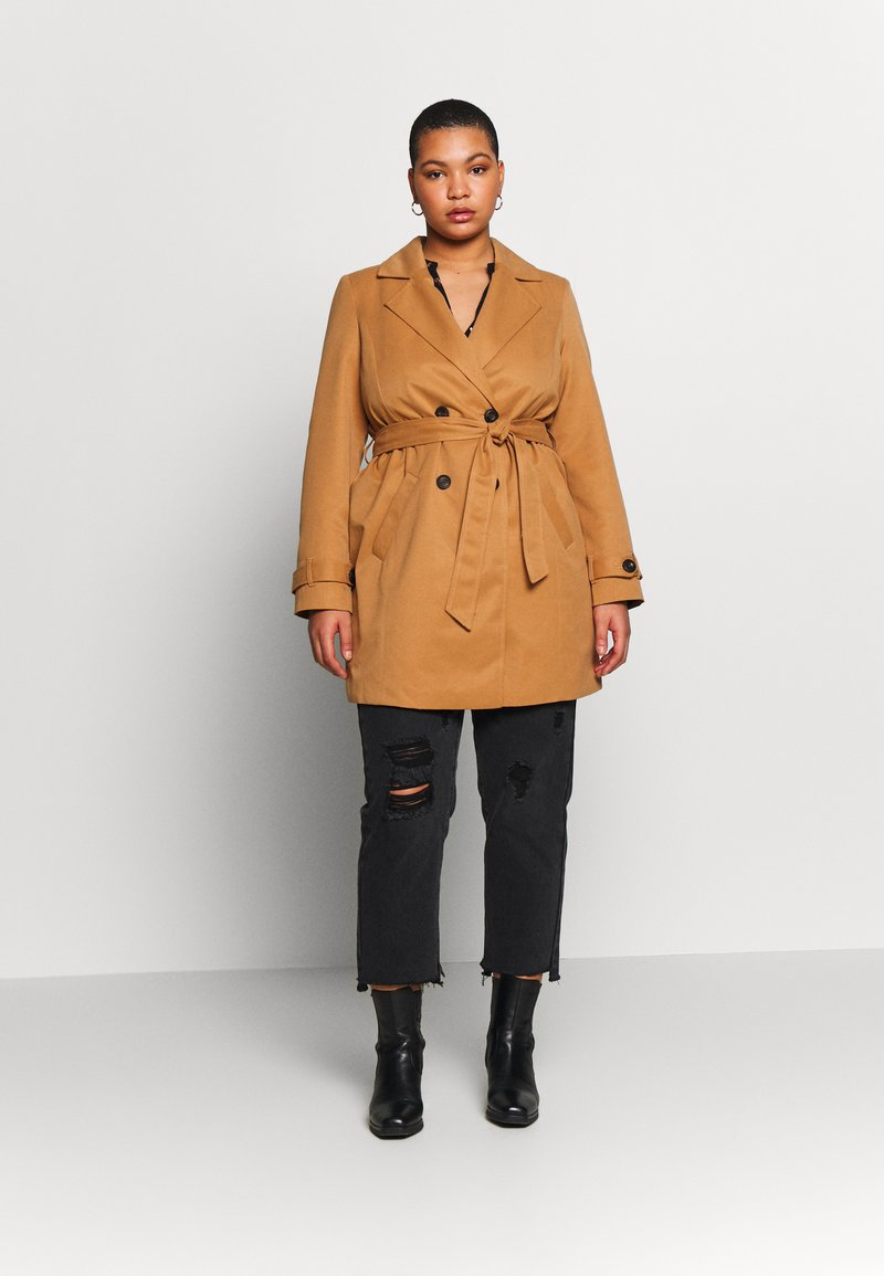 Vero Moda Curve - VMBERTA JACKET - Trench - tobacco brown