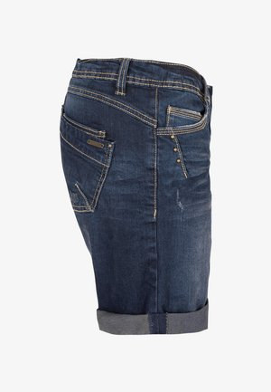BERMUDA MIT AUFSCHLAG - Denim shorts - blue