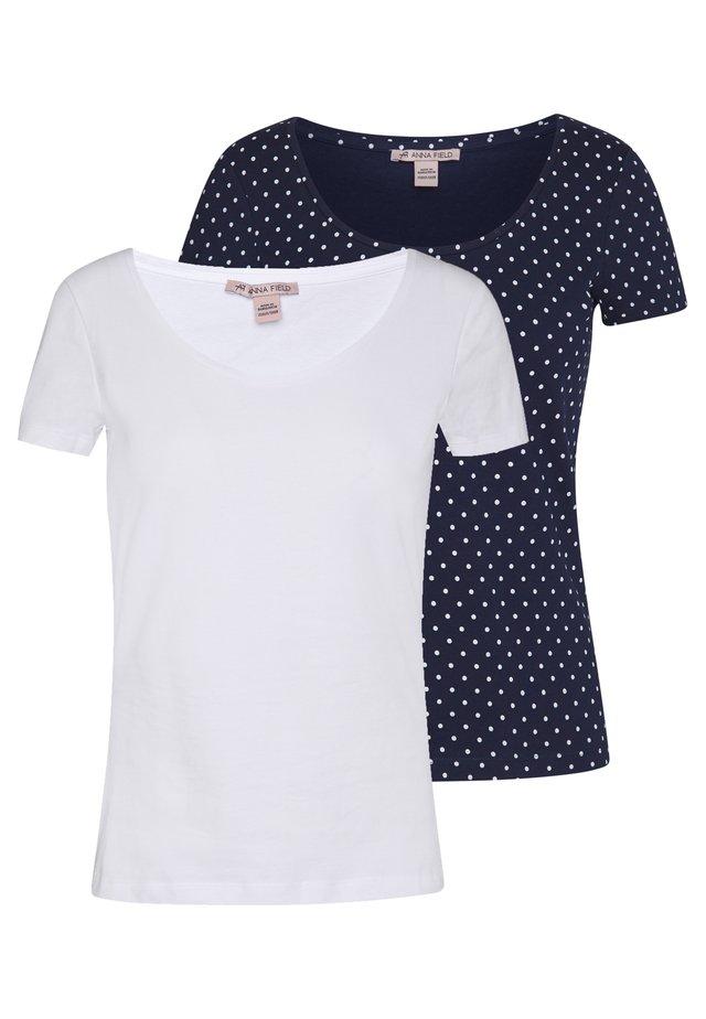 2ER PACK  - Print T-shirt - navy/white