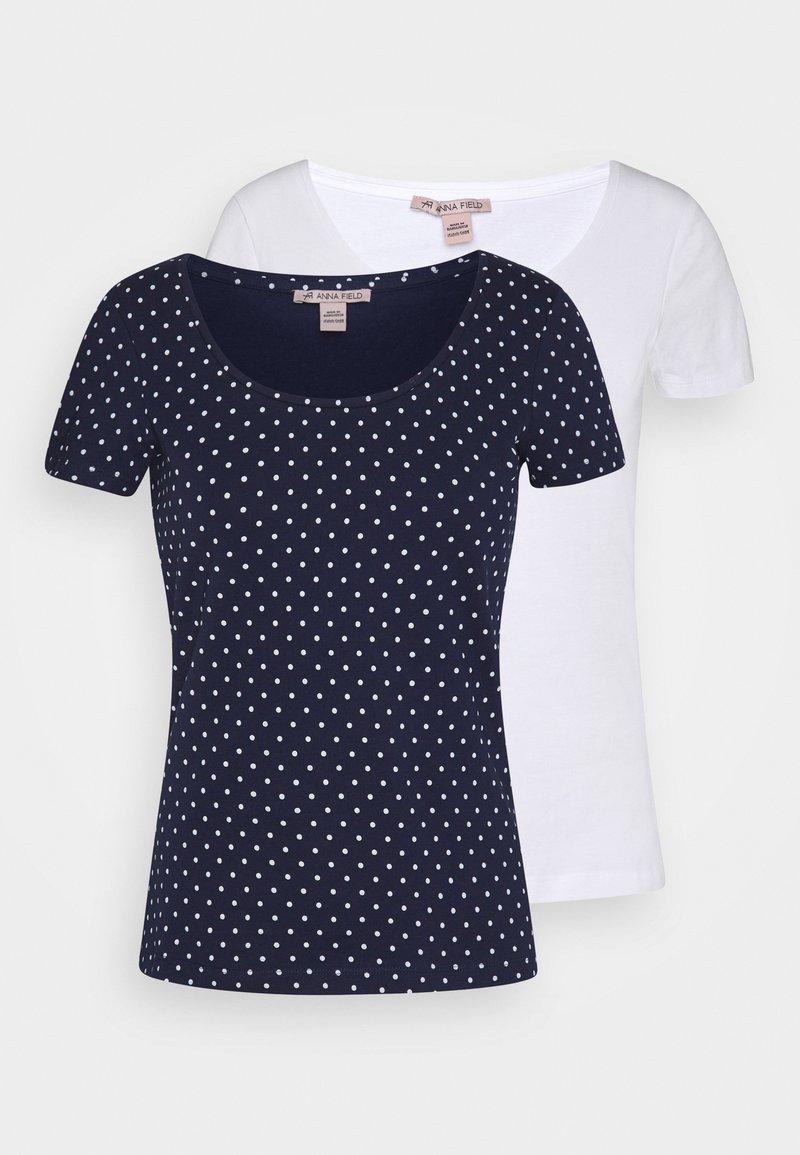 Anna Field - 2ER PACK  - Camiseta estampada - navy/white