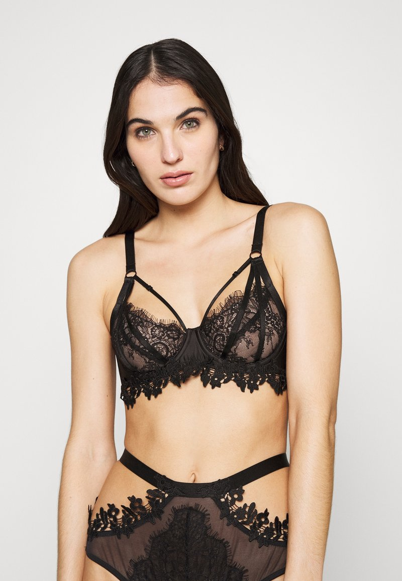 Wolf & Whistle - BRA WITH STRAPPING OVERLAY - Bøyle-BH - black