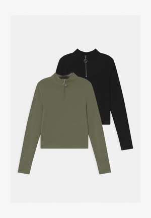 ZIP 2 PACK - Long sleeved top - black /khaki