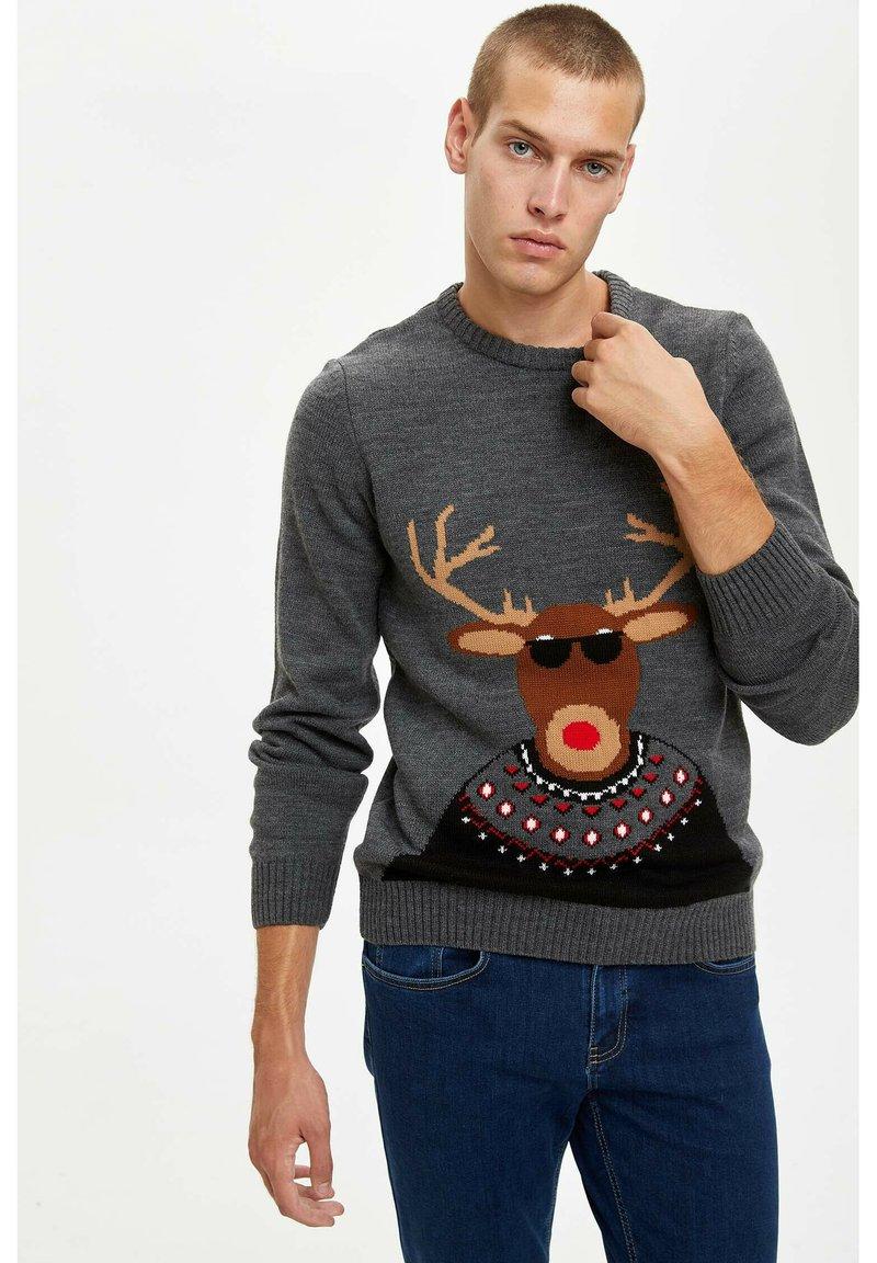 DeFacto - CHRISTMAS - Stickad tröja - grey