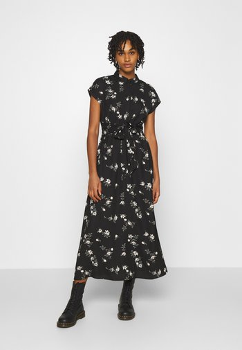 VMFALLIE LONG TIE DRESS - Shirt dress - black