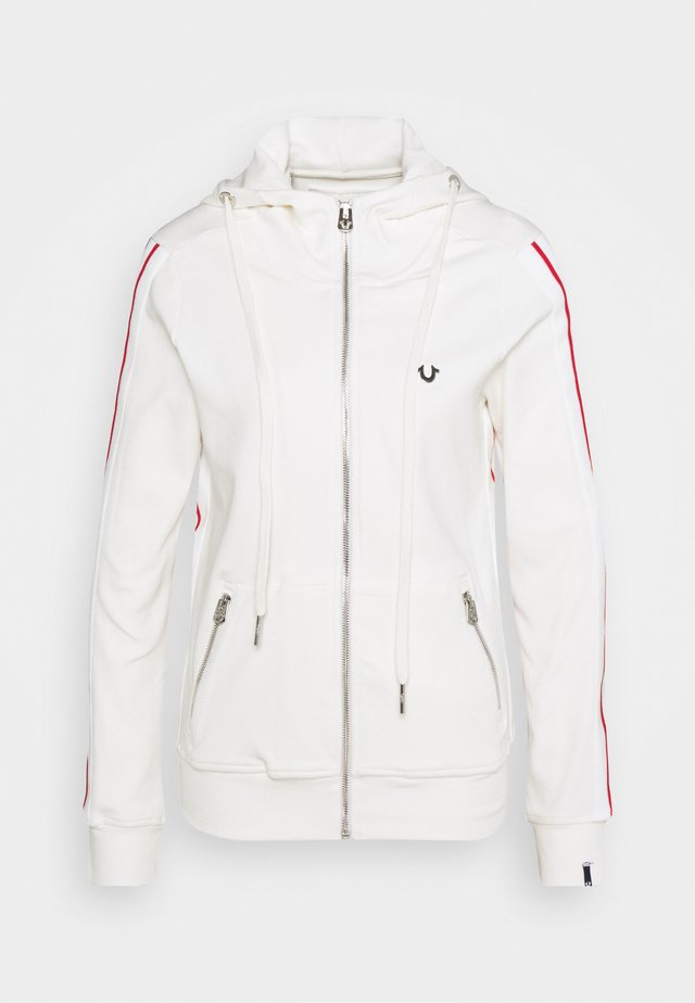 HOODED JACKET METAL HORSESHOE - veste en sweat zippée - off white