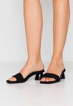 BASIC MULES CYLINDER HEEL - Pantofle na podpatku - black