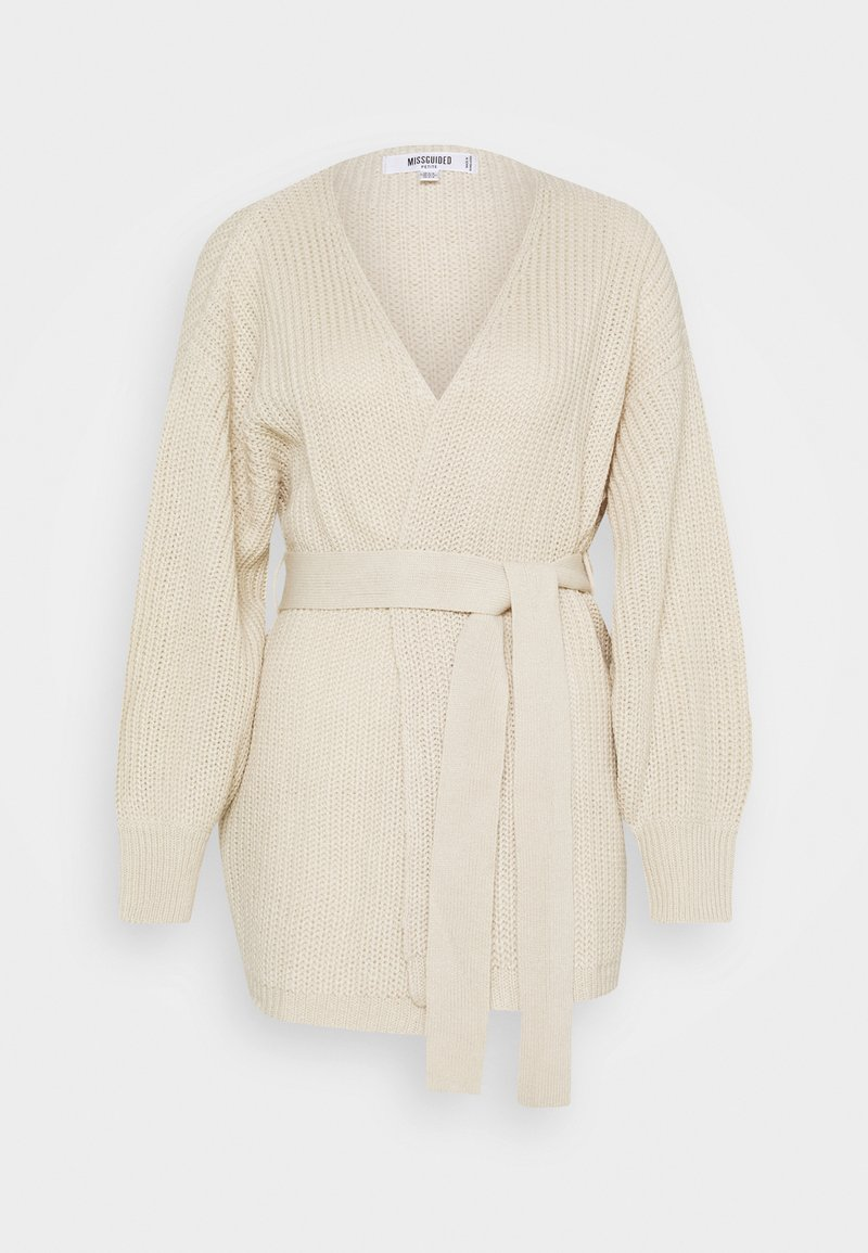 Missguided Petite - OVERSIZED BELTED BALLOON SLEEVE CARDIGAN - Cardigan - oatmeal