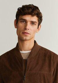 Mango - UBBE - Leather jacket - chocolat - 3