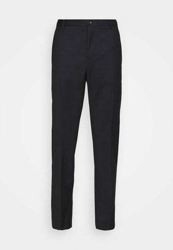 TONAL GRID CHECK EXTRAFINE PANT - Kalhoty - navy
