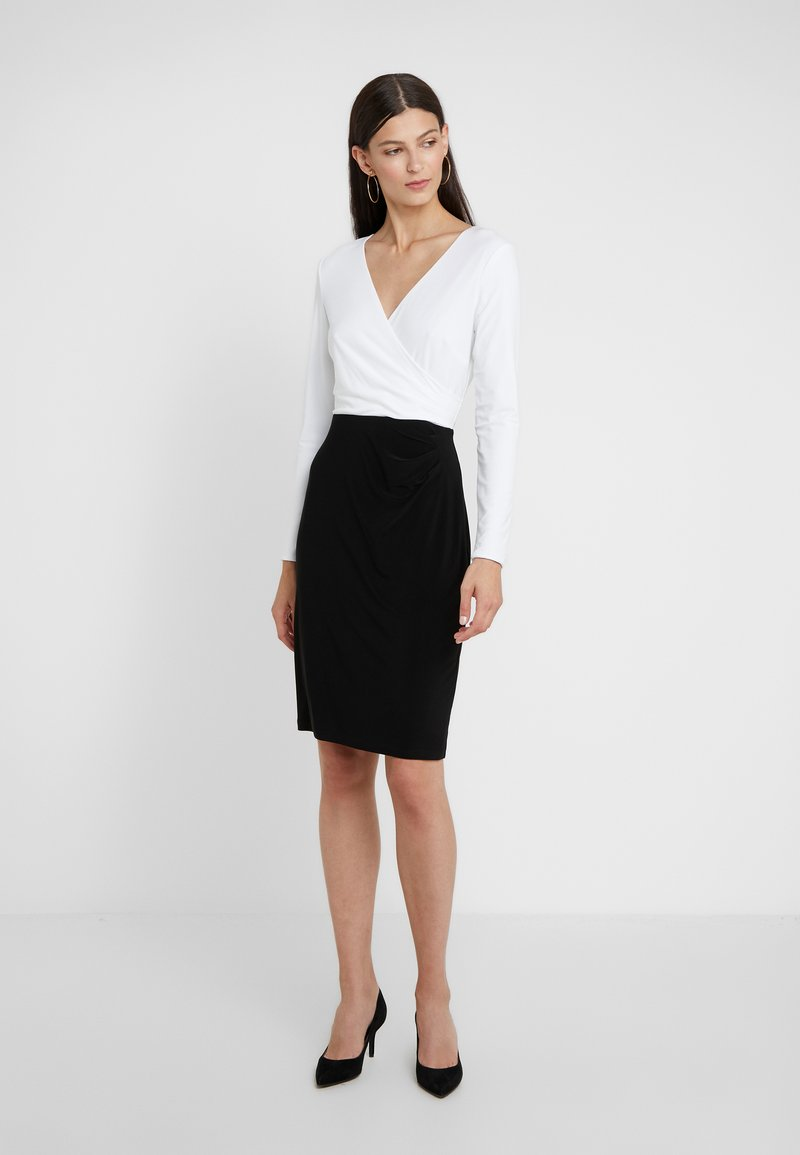 Lauren Ralph Lauren - MID WEIGHT TONE DRESS - Fodralklänning - black/ white