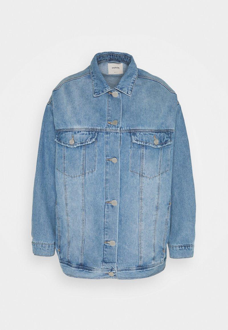 Simply Be - OVERSIZED EX BOYFRIEND JACKET  - Short coat - blue vintage/bleach