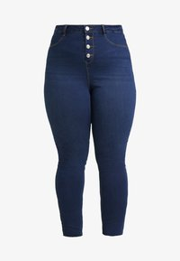 Missguided Plus - BUTTON FRONT LAWLESS - Jeans Skinny Fit - deep blue - 3