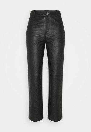 OBJTIFANNY CROCO PANT  - Leather trousers - black