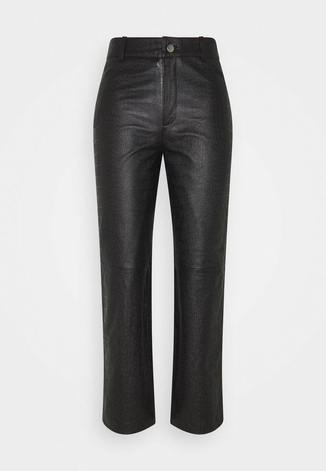 OBJTIFANNY CROCO PANT  - Pantaloni - black