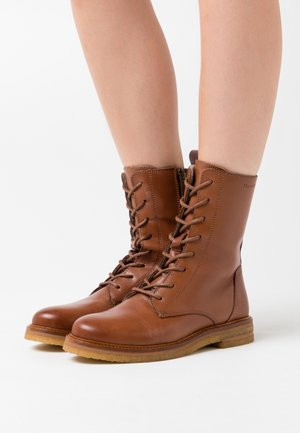 BRENDA - Lace-up ankle boots - cognac