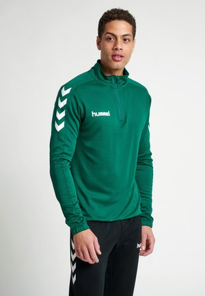 CORE ZIP - Long sleeved top - evergreen