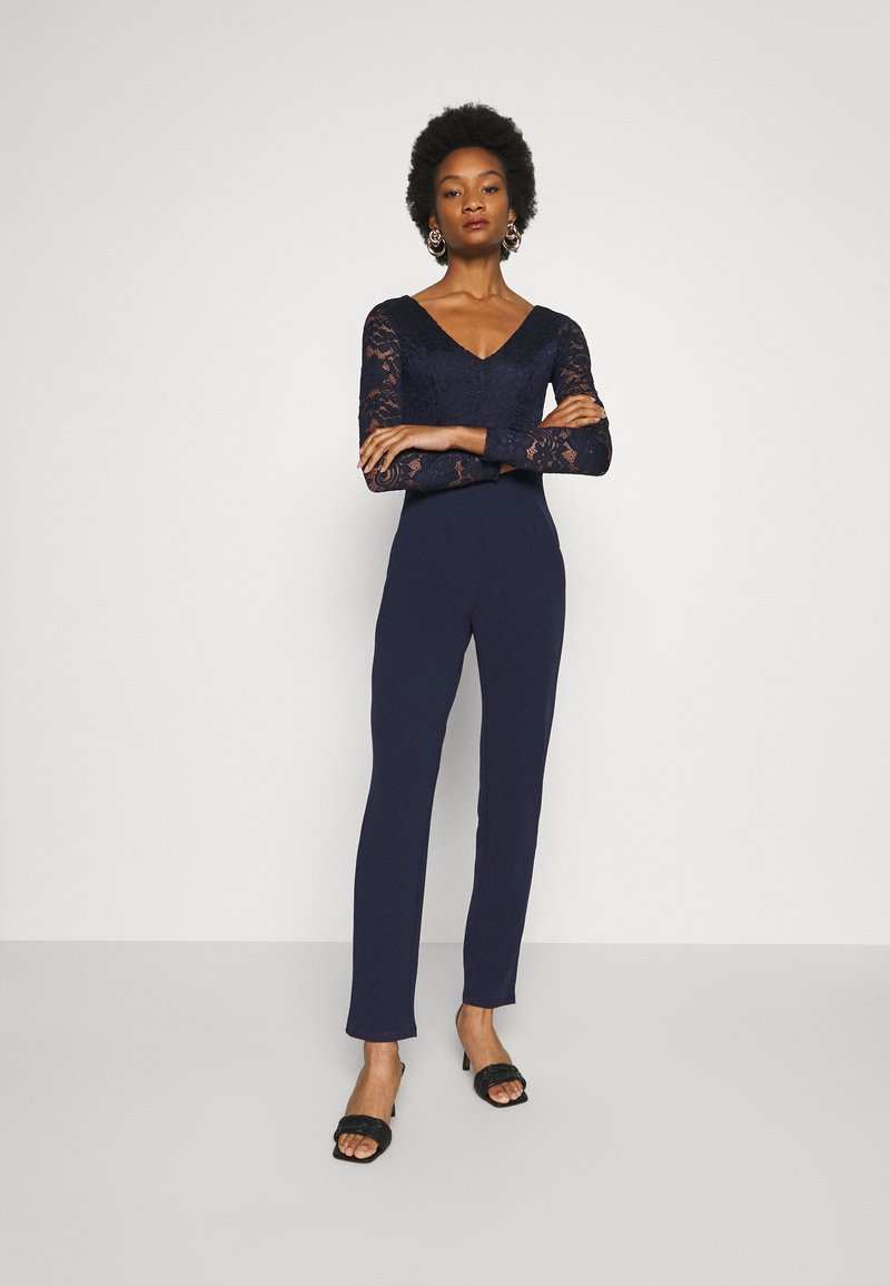 Anna Field - OCCASION - LONG SLEEVES LACE TOP JUMPSUIT - Combinaison - maritime blue