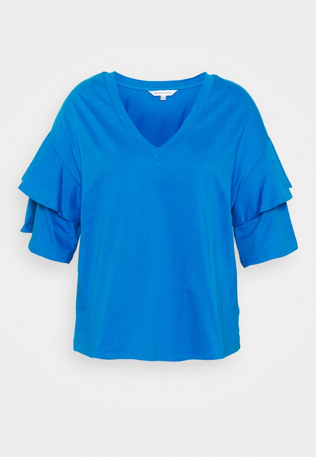 DROP SHOULDER FRILL - T-shirt imprimé - azure blue