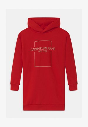 OUTLINE LOGO BOX HOODIE  - Day dress - red