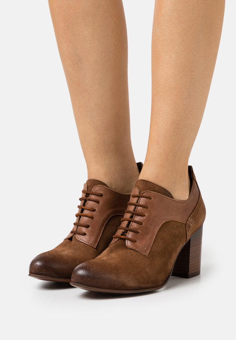 Felmini Wide Fit - MADELINE - Lace-up heels - marvin/uraco/brown