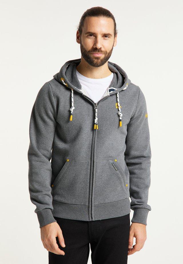 Zip-up hoodie - steingrau melange