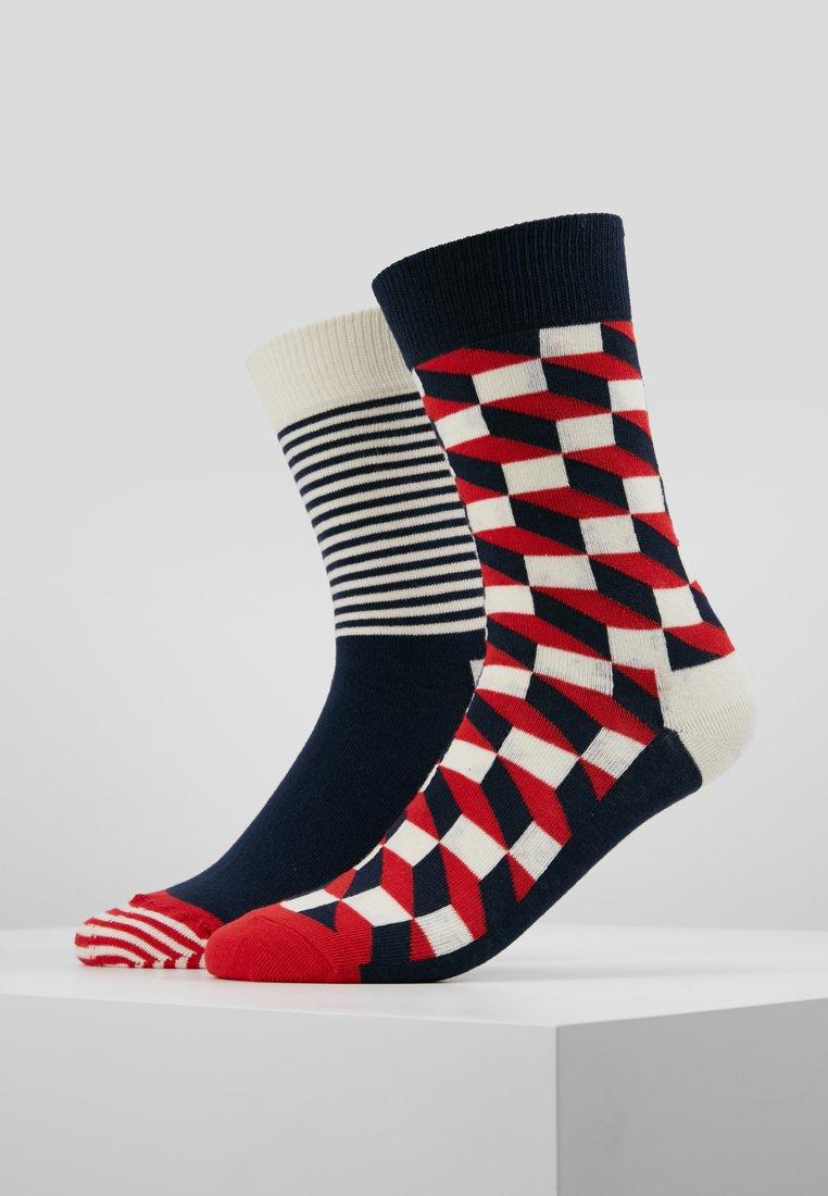 Happy Socks - FILLED OPTIC HALF STRIPE 2 PACK - Socks - black/multi-coloured